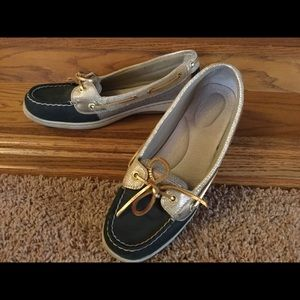 Nice Sperry Leather/Fabric Black & Tan Shoes Sz 9M
